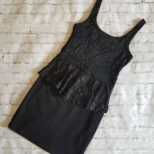 Soprano Black Glitter Peplum Dress